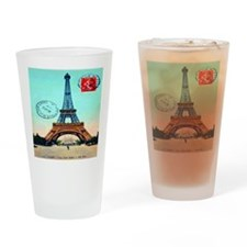Vintage French Eiffel Tower Postcar Drinking Glass
