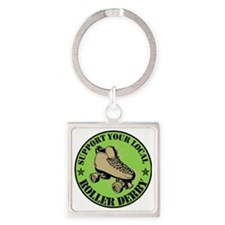 Support Roller Derby Green Square Keychain
