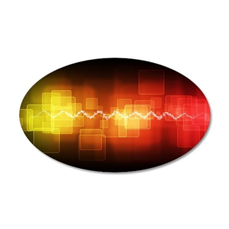 Red, Yellow, Black Graphic 35x21 Oval Wall Decal