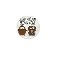 Cute Brown Chicken Brown Mini Button