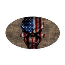 flag_skull_dark_Oval_Sticker Oval Car Magnet