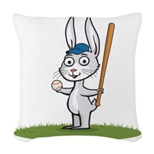 Bunny Baseball Player Woven Throw Pillow