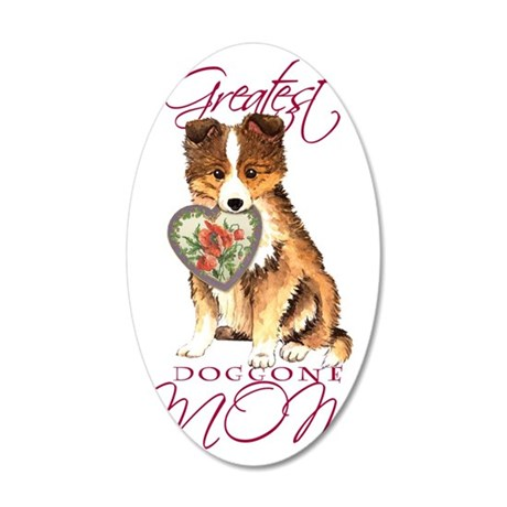 Sheltie mom 35x21 Oval Wall Decal