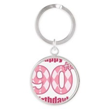 Happy 90th Birthday - Pink Argyle Round Keychain