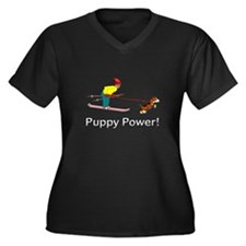 Puppy Power Women's Plus Size V-Neck Dark T-Shirt