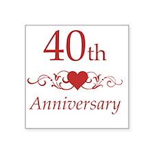 "40th Wedding Anniversary Square Sticker 3"" x 3"""