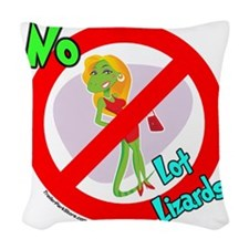 Lot Lizard Warning Sign Woven Throw Pillow