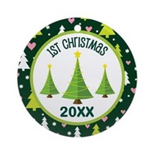 1st Christmas Personalized Ornament (Round)