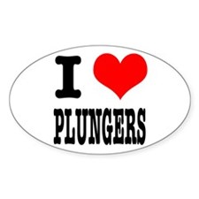 I Heart (Love) Plungers Oval Decal