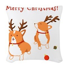 Corgi Christmas Woven Throw Pillow