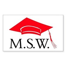 Red MSW Grad Cap Rectangle Decal