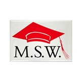 Red MSW Grad Cap Rectangle Magnets (10 pack)