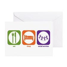 Eat Sleep Social Services Greeting Cards (Package