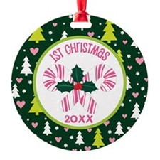 Candy Cane 1st Christmas Personalized Ornament