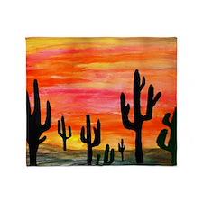 Cactus Desert Sunset Throw Blanket