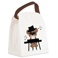 Piano playing bear Canvas Lunch Bag