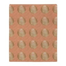 Golden Asian Pattern on Pink Throw Blanket