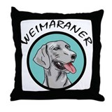 weimaraner circle portrait Throw Pillow