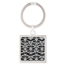 Simple Damask Square Keychain