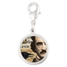 Edgar Allan Poe and His Raven  Silver Round Charm