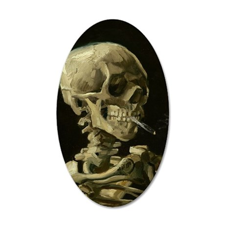 Skull with Cigarette 35x21 Oval Wall Decal