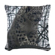 Snow Leopard Guard Woven Throw Pillow