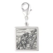 Firefighter Silver Square Charm