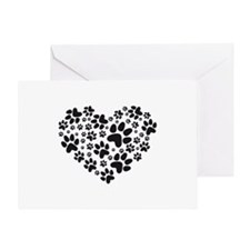 black heart with paws, animal foodpr Greeting Card