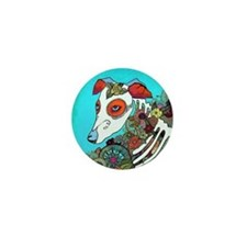 Dia Los muertos, day of the dead dog Mini Button