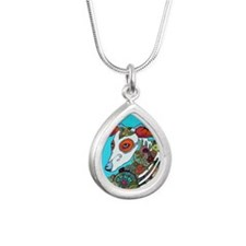 Dia Los muertos, day of  Silver Teardrop Necklace