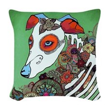 Dia los muertos, dog  Woven Throw Pillow