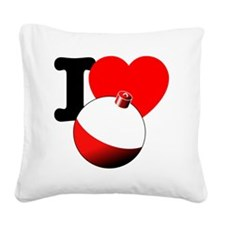 I Heart Fishing bobber Square Canvas Pillow