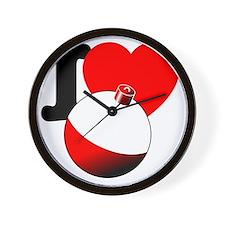 I Heart Fishing bobber Wall Clock