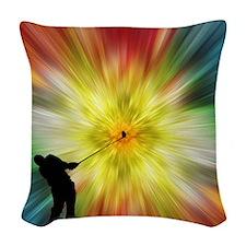 Tie Dye Silhouette Golfer Woven Throw Pillow