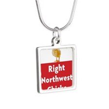 Right Northwest Chicks of  Silver Square Necklace