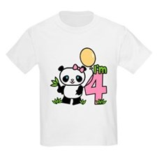 Lil' Panda Girl 4th Birthday T-Shirt