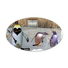 Penguin Hockey Oval Car Magnet