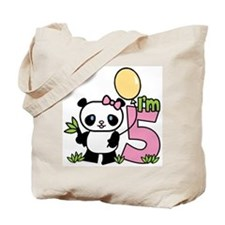 Lil' Panda Girl 5th Birthday Tote Bag