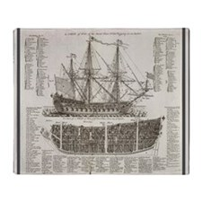 Ship Shower Curtain Throw Blanket