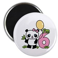 Lil' Panda Girl 6th Birthday Magnet