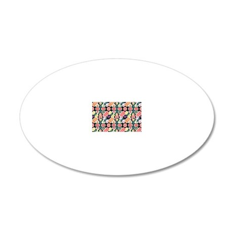 Sushi Pattern 20x12 Oval Wall Decal