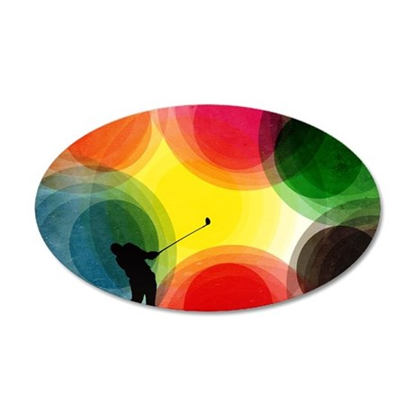 Colorful Retro Silhouette Go 35x21 Oval Wall Decal