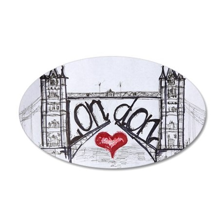 London with love 35x21 Oval Wall Decal
