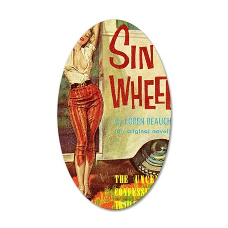 Sin On Wheels 35x21 Oval Wall Decal