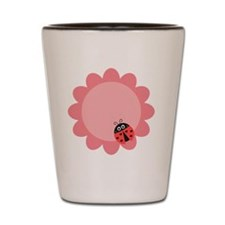 Cute ladybug with hearts on a pink flow Shot Glass