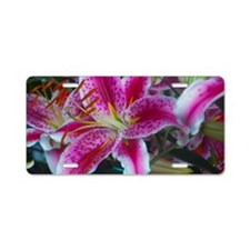 Stargazer Lily Small Framed Aluminum License Plate