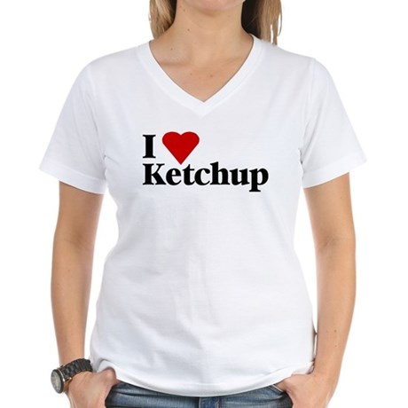 I love ketchup Women's V-Neck T-Shirt
