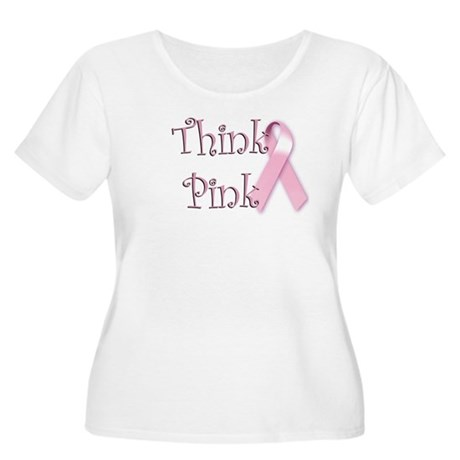 Think Pink (1) Women's Plus Size Scoop Neck T-Shir