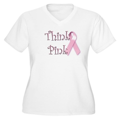 Think Pink (1) Women's Plus Size V-Neck T-Shirt