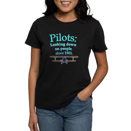 Pilots looking down on peopl women s dark t shirt